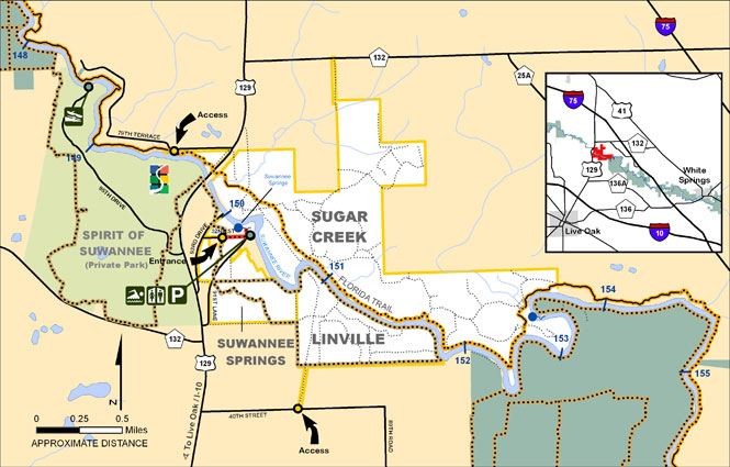 Sugar Creek, Suwannee Springs, Linville Map