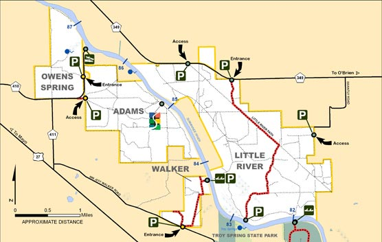 Owens Spring, Walker, Adams, Little River Map