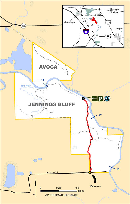 Avoca, Jennings Bluff Map
