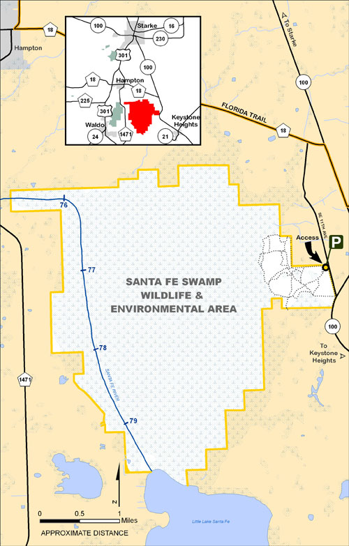 Santa Fe Swamp, Lake Alto Map