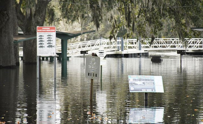 Sign, benches and parking area under water from river flooding.