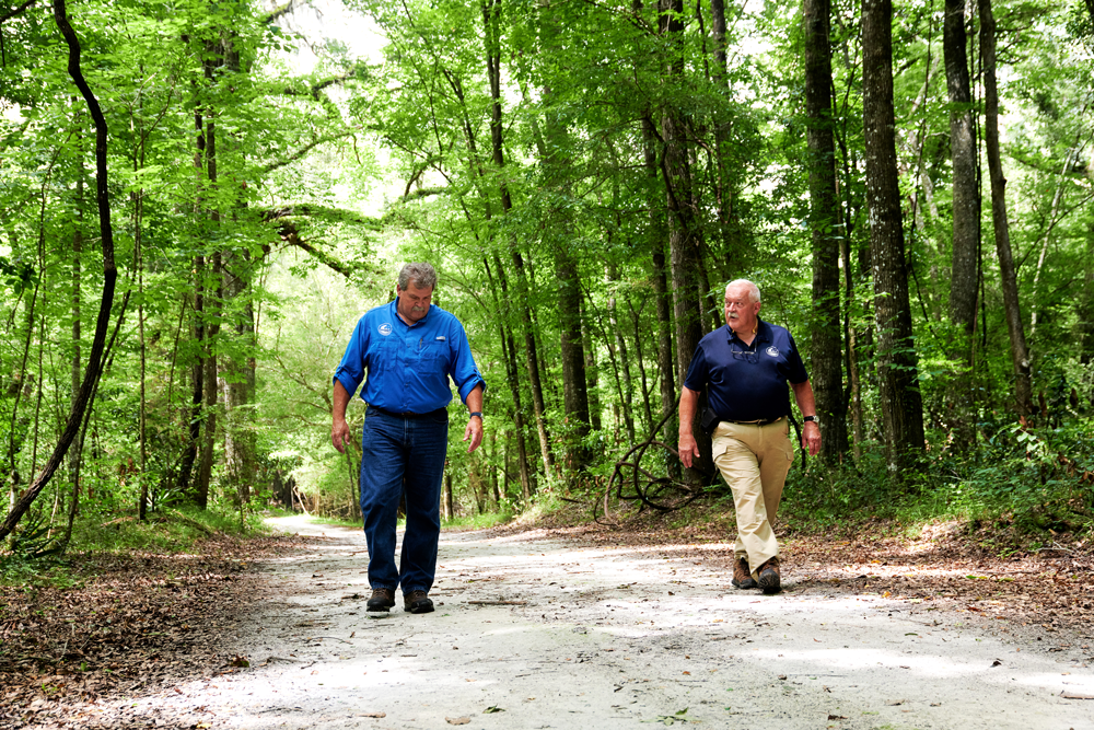 Two men walking a dirt trail with tall trees lining the sides