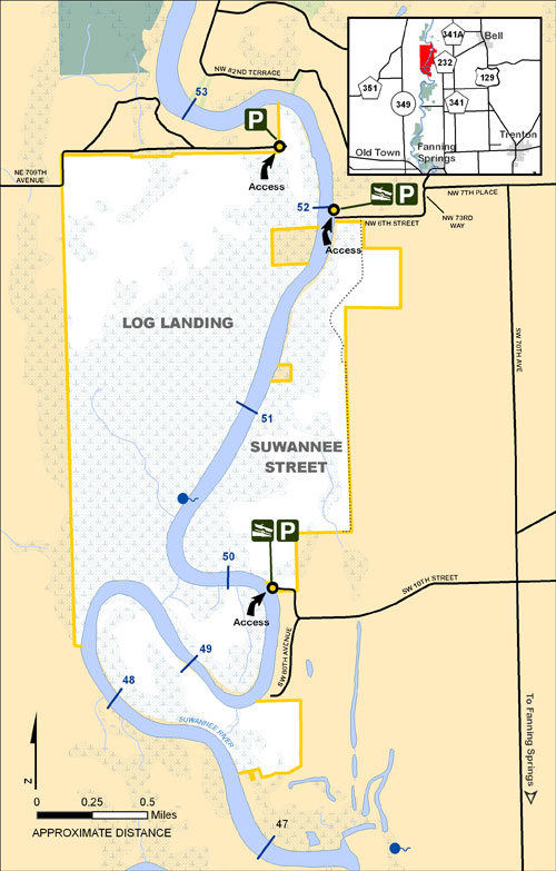Log Landing, Suwannee Street Map