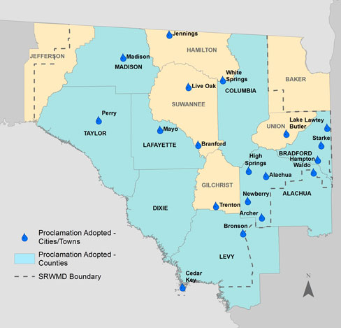 Map of local governments that have adopted water conservation measures